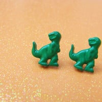 Green Tyrannosaurus Stud Earrings - Going Extinct - T Rex Dinosaur Post Earrings - Miniature Dino - Hypoallergenic Nickle Free