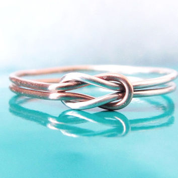 Rose Gold and Silver Tie the Knot Ring, Two Tone Double Love Knot Ring, Hug Infinity Ring, Sailor Knot Ring, Celtic Knot Ring, Lovers Knot