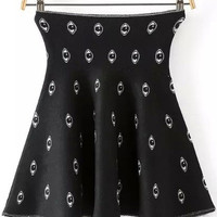 Black Eye Print Knitted Mini Skirt