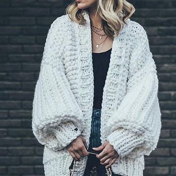 Fashion Knitting Solid Color Long Puff Sleeves Sweater