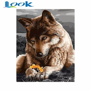 LOOK Wolf Animals Diy Digital Painting By Numbers Wall Art Picture Acrylic Drawing Paint By Numbers For Home Decor 40x50cm