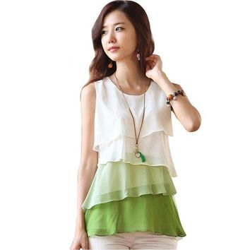2018 New Fashion Women Casual Blouses Sleeveless Neck Flounce Tiered Chiffon Shirt Plus Sizes