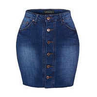 Casual Vintage High Waist Button Down Mini Skirt With Pockets