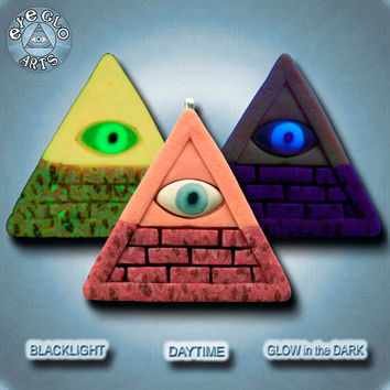 Glow in the Dark Pendant UV wearable Art EyeGloArts Handmade Blacklight jewelry Orange and Red Roses Illuminati Pyramid