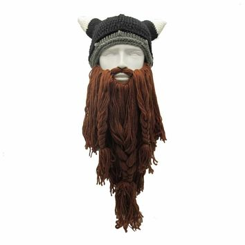 Funny Man Vikings Beanies Knit Hats Beard Ox Horn Handmade Knitted Men's Winter Hats Warm Caps Women Gift Party Mask Cosplay Cap
