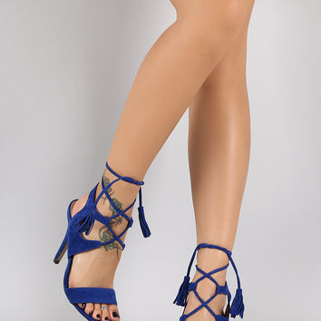 Fringe Tassel Lace Up Open Toe Heel