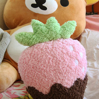 Pink Chocolate Covered Strawberry Plush Pillow