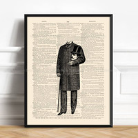 Victorian Ghost, Where Is My Head, Magic And Occult, Funny Home Print, Gift Woman Print Oddity Art Print Horror Decor Top Hat Gentleman 171