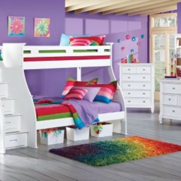 Belmar White 4 Pc Twin Full Step Bunk Bed