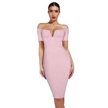 Off Shoulder Bandage Midi Dress
