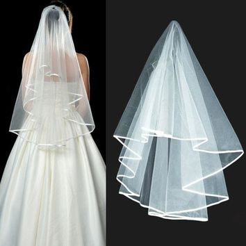 ONETOW New Wedding Veils Bridal Veil Mantilla Ribbon Edge Batwing Tulle + Comb  D_L = 1946347460