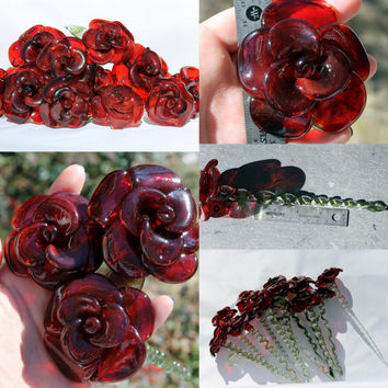 Red Glass Rose Long Stemmed, Glass Flower Forever Untamed Rose Victorian Hand blown Red Extra Large SRA