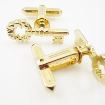 Vintage Cufflinks, Skeleton Key, Wedding Cuff Links, Signed Hickok, Mens Jewelry, Gifts for Men