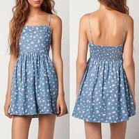coolstyle — Retro floral denim skirt with shoulder-straps dress