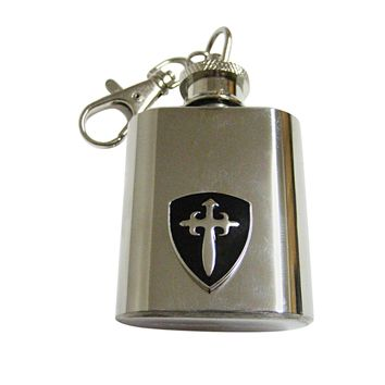 Black Medieval Shield Keychain Flask