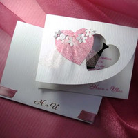 "Bridal Wedding Invitations ""Two Hearts"", Handmade Wedding Invitations, Heart Shaped Invitation"