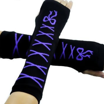 Purple Lace Bow Gloves Stitch Arm Warmers