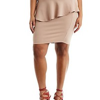 PLUS SIZE TEXTURED KNIT PEPLUM SKIRT