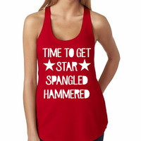 Time To Get Star Spangled Hammered Tank Women's 4th of July Party Funny Drunk Tank