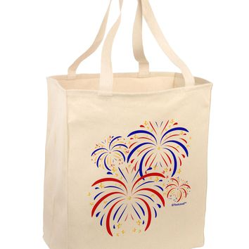 Patriotic Fireworks with Bursting Stars Large Grocery Tote Bag by TooLoud
