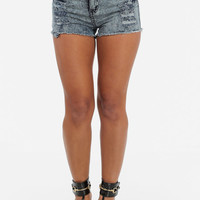 High Waist Distressed Cut Off Denim Shorts