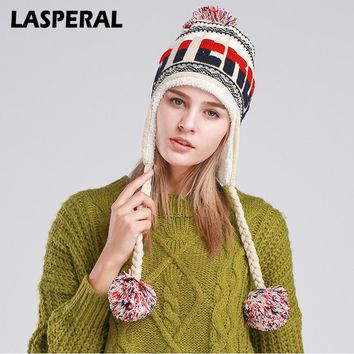 LASPERAL Winter Warm Knitted Hats Caps Fashion Ball Decoration Casual Knitted Beanies Cap girl's Poms Ear Hat Female Z30