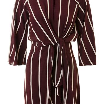 Mono Stripe Knot Front Dress