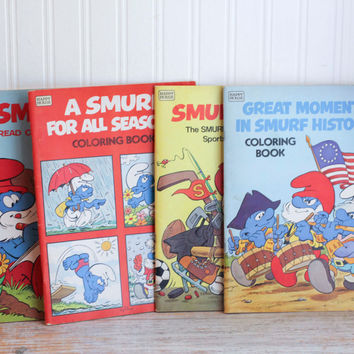 Vintage Smurf Coloring Books - 1980's 80s The Smurfs Cartoon