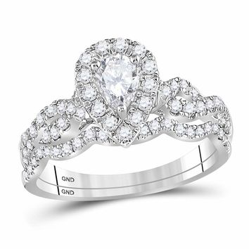 14kt White Gold Womens Pear Diamond Twist Bridal Wedding Engagement Ring Band Set 1.00 Cttw