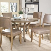102013 Charleston 5-Piece Round Wood Base Dining Set with Parson Chair - Free Shipping!