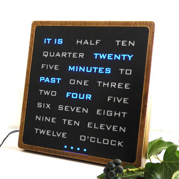 Multicolor Word clock - RGB led clock, wood electronic clock, moderrn wooden clock, desk clook, handcrafted wood clock