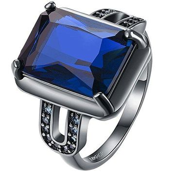 AWLY Jewelry Women 18k Black Gold Square Blue Large Stone Princess Cut Sapphire CZ Solitaire Wedding Ring