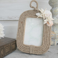 Seashell Nautical Rope Frame/Coastal Photo Frame/4x6 Picture Frame