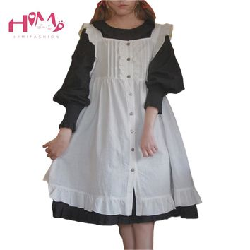 2018 Soft Sister Japanese Dresses For Women Vintage Young Girl Doll Collar Ruffles Dress Autumn Lolita Princess Midi linen Dress