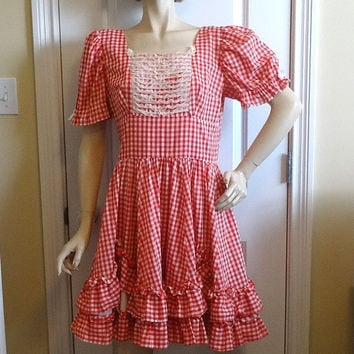 1970s Vintage Home Sewn Square Dance Dress in Red & White Gingham, Lace Trim, Size 12-14, Double Ruffle, Vintage Square Dance Costume Dress