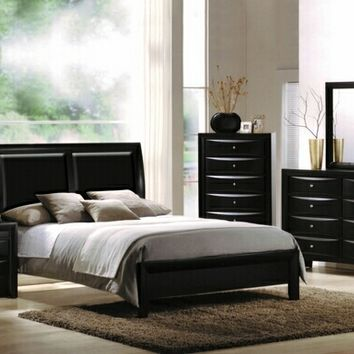 5 pc Ireland Collection black finish wood queen bed set with leather like vinyl panel headboard