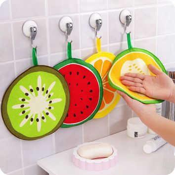 4pcs/lot Fruit hand towel dish dry cloth candy color Cartoon design Pattern Absorbent Kitchen with Hanging Bathroom Use