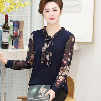 new fashion women middle age mother print chiffon long sleeve Bow collar t-shirt female office lady spring autumn pullover tops