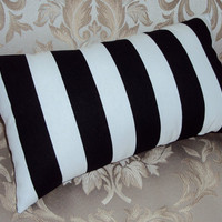 16x9 Mod Decorative Black and White Stripe Lumbar Pillow Cover