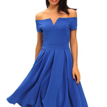 Chicloth Solid Blue Thick Flare Midi Vintage Dress