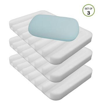 Evelots Waterfall Soap Sponge Saver Tray ShowerBathTub Kitchen Silicone Set of 3
