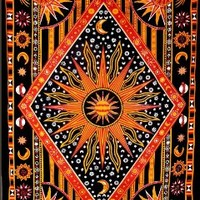 ModTradIndia - Celestial Sun Moon Stars Planet Tapestry, Indian Hippie Wall Hanging , Bohemian Bedspread, Mandala Cotton Dorm Decor Beach blanket (1, A)