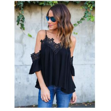 Fashion Solid Color Lace Stitching V-Neck Strapless Strap Loose Chiffon Tops
