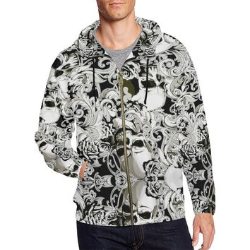 Paisley Skulls Men's All Over Print Full Zip Hoodie