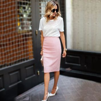 Vintage Pink Women Pencil Skirt Bohemian  High Waist Summer Women Wrap Skirt Knee-length Fashion Woman Office skirts Vestido