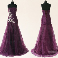long prom dresses, purple prom dresses, lace prom dresses, evening prom dresses, cheap prom dresses, dresses for prom, RE464