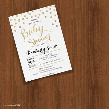 Gold Glitter Texture Confetti Dots Customizable Baby Shower Invites