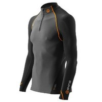 Skinss400 Men's Thermal Compression Longsleeve Mock Neck with Zipper, Extra Large, Black/Graphite/Orange