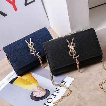 Women Fashion Flash Pu Y Letter Metal Chain Single Shoulder Messenger Bag  Small Square Bag