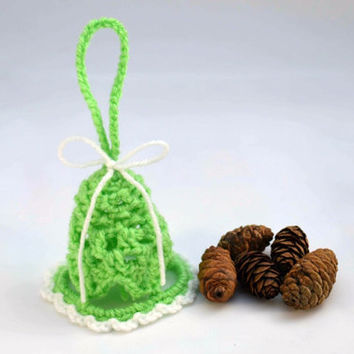 Lace crochet christmas bell, Christmas tree decoration, rustic, Home decor, Christmas ball, lace, green, mint